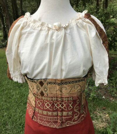 Waist Cincher Sm to Med, Red Patchwork and Black Twill